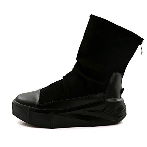 Xiafen Mens High-cut Tacco Basso Alla Caviglia-alta Moda Casual Stivali Scarpe Comode Nere