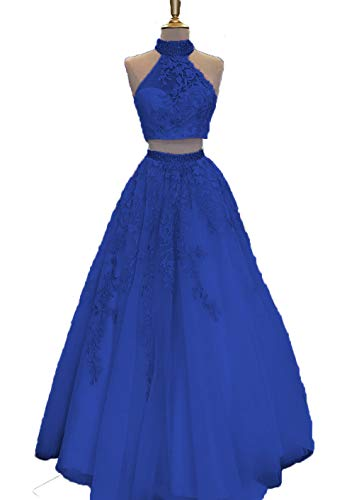 Royal Blue Prom Dresses Lace Appliques High Neck A-Line Two Piece Long Evening Gown for Juniors