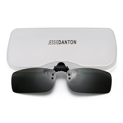 JESSIEDANTON Polarized Clip-on Flip Up Metal Clip Rimless Sunglasses, Lightweight, S Size, Green - Sale For S Sunglasses