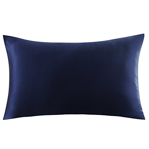 ZIMASILK 100% Mulberry Silk Pillowcase for Hair and Skin Health,Both Side 19 Momme Silk,1pc (Queen 20''x30'', Navy Blue)
