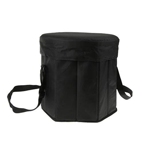 Baosity Foldable Insulated Lunch Container Ice Cooler Bag Fishing Seat Camping Stool Picnic Chair - Black