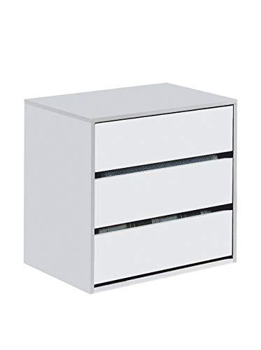 Habitdesign ARC6030 Cajonera Auxiliar 3 cajones, Blanco Mate, 60 cm (Ancho) x 57 cm (Alto) x 44 cm (Fondo)
