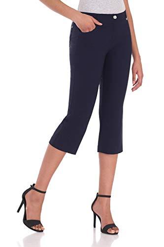 Rekucci Women's Iconic Comfort Stretch 5 Pocket Easy Fit Capri w/Zipper Closure (12,Navy)
