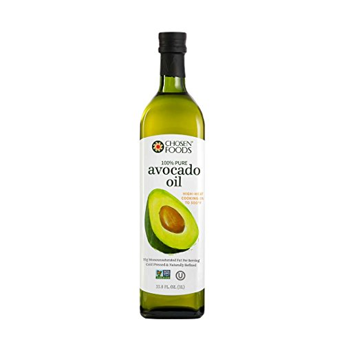 Chosen Foods 100% Pure Avocado Oil 1 L, Non-GMO, for High-Heat Cooking, Frying, Baking, Homemade Sauces, Dressing and (Pure Avocado Oil)