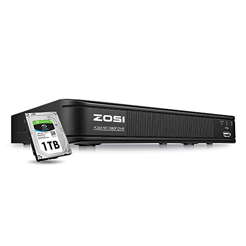 ZOSI 1080p Home Security DVR 8 Channel HD-TVI Hybrid Capability 4-in-1(Analog/AHD/TVI/CVI) Surveillance DVR Reorder,Motion Detection,Remote Control,Email Alarm,1TB Hard Drive Built-in