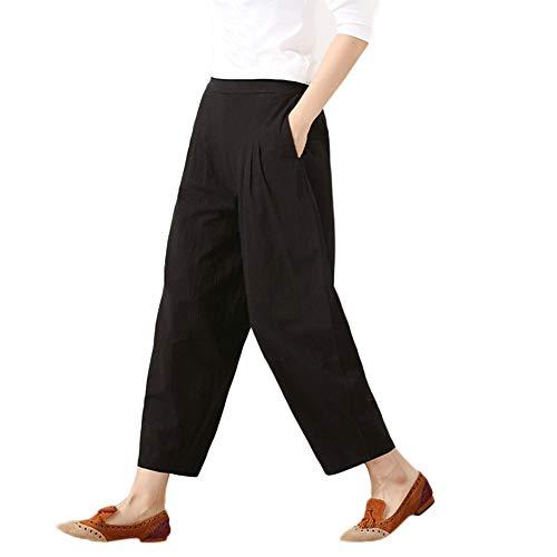 GLVSZ Womens Casual Cotton Linen Baggy Pants Elastic Waist Pleated Capri Pocket(Black,L)