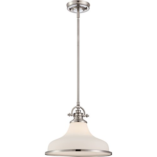 Quoizel GRT2814BN Grant 1-Light Pendant, Brushed Nickel (1 Light Cord Hung Pendant)
