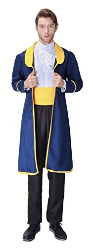 Cohaco Men's Fairy Tales Costume Prince Style with Black Mustaches (X-Large, Blue)
