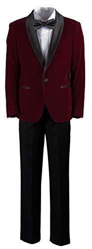 Boys Slim Fit Shawl Burgundy Velvet Dinner Suit in Toddlers to Boys (3 Toddler) ()