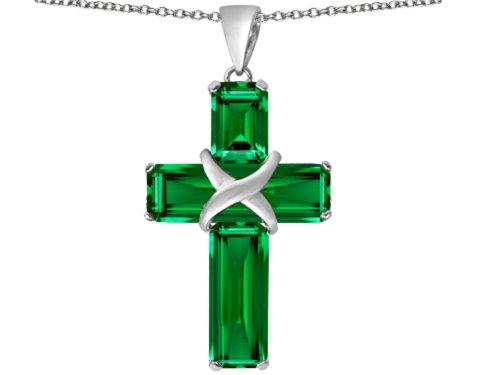 Star K Christian Cross Pendant Necklace with Emerald Cut Simulated Emerald Stones