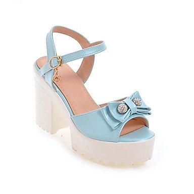 y Mujer LvYuan Tacón Robusto Blue Noche Vestido Blanco Rosa Semicuero Azul Sandalias Informal Fiesta Otro F00qrwd