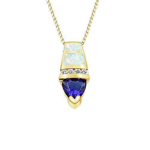 (Sinlifu Fashion Austrial Fire Synthetic Inlay White Opal Pendant Fashion Blue Tanzanite Triangle Necklace 18