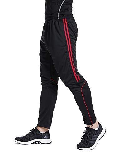 Men's Sweatpants Track Soccer Training Pants Active Jogger Pants Slim Fit Trousers Striped with Zipper Pockets L
