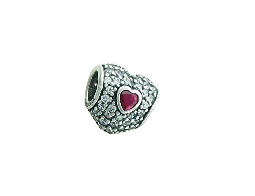 Pandora 791168sru in My Heart Clear And Synthetic Ruby Charm