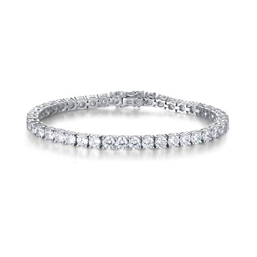 FANCIME White Gold Plated High Polished 925 Sterling Silver Round Cut AAA Cubic Zirconia CZ Wedding Bridal Prom Tennis Bracelet For Women Girls, 7