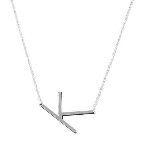 Letter Sideways Large Initial Necklace Gold Big Letter Script Name Stainless Steel Pendant Monogram Necklace for Women