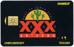Collectible Phone Card: $1. Super Bowl XXX Complimentary (1996 - Arizona) Chip Card
