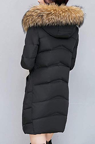 Elegante Moda Transición Espesar Grandes Con Piel Mujer Caliente Modernas Outerwear Fit De Outdoor Capucha Parka Tallas Casuales Abrigo Áspera Negro Largo Manga Invierno twpfPqyO