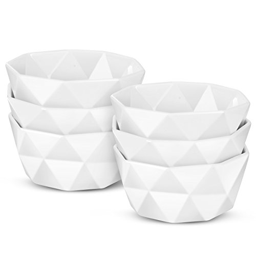 Delling Geometric 8 Oz Porcelain Ramekins/Dessert Bowls, Durable Creme Brulee Dishes for Baking, Dessert, Ice Cream, Snack, Souffle - Set of 6 - White (Baking Desert)