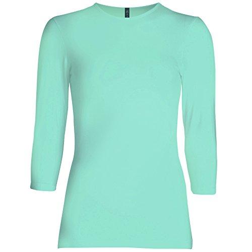 (Esteez Womens 3/4 Sleeve Shirt SNUG FIT EX801941 Mint Small)
