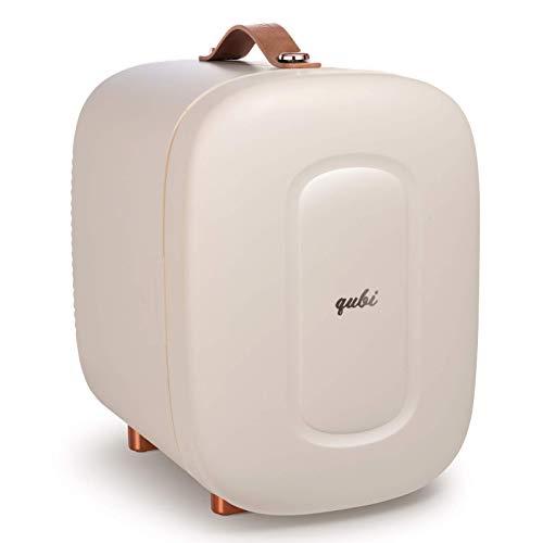 QUBI Mini Fridge, Professional Skincare Fridge, Mini Cosmetics Makeup Fridge, Compact Fridge 5 Liter (Cream White, 5L)