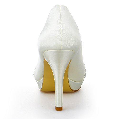 Women's Satin Wedding Ivory Stiletto Rhinestone Peep Pumps Shoes Platform Heel Toe JIA Shoes 37090 JIA Bridal OFqwxF