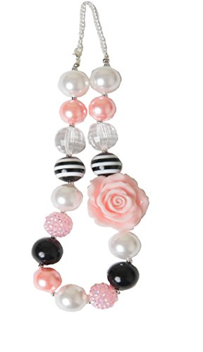 Chunky Bubblegum Necklace beaded for baby, girls teens and women (Light Pink & Black) - Bubblegum Baby Costume