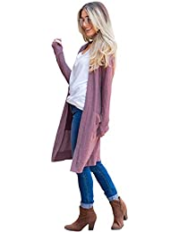 Women's Long Sleeve Knit Open Front Sweater Cardigan with Pockets