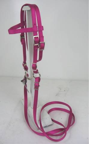 MINIATURE HORSE / SMALL PONY COMPLETE NYLON BRIDLE WITH BIT RASPBERRY - Bridle Complete