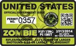 "Yellow Dog 3"" x 4"" USA United States Zombie Hunting Permit"