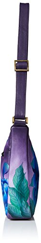 Peonies Women'S Anna Hobo Leather Hand Painted Precious Medium Eggplant Anuschka Shoulder pfq6Uxp