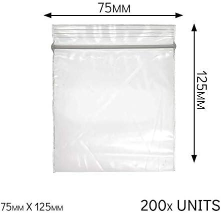 Bolsas de plástico con cierre hermético, resellable, a prueba de olores, cierre al vacío, plástico, transparente, Pack of 200