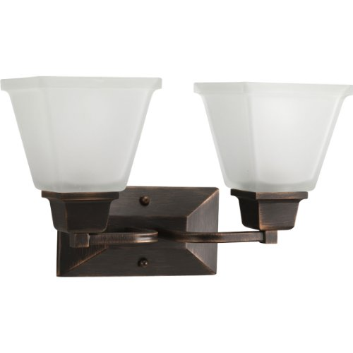 Progress Lighting P2738-74 2-Light Bath Fixture with Square Etched Glass and Can Mount Up or Down, Venetian Bronze