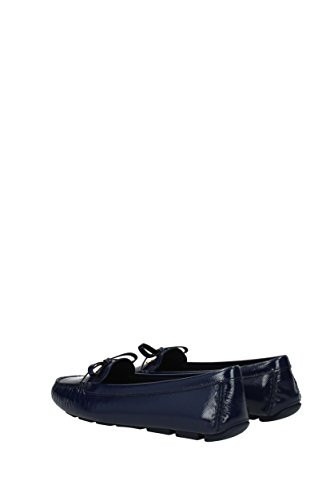 1DD051VERNICESTSAF Ballet Prada Women Blue Leather UK Flats Patent Xvqad