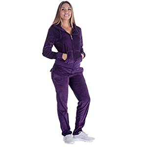 Urimoser Velour Tracksuit Womens Sports Solid Workout Purple Zipper Hoodie and Pants 2 Pieces Sweatsuit Set