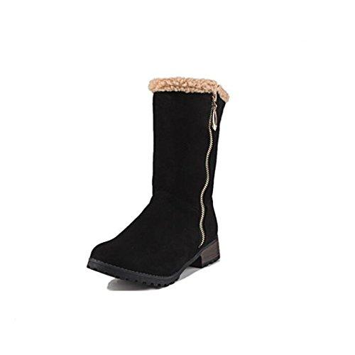 e camera femmina a stivali testa Inverno spessa e X ZQ Black stivaletti elegante lato multi con versatile Autunno rotonda Taq0Ean6
