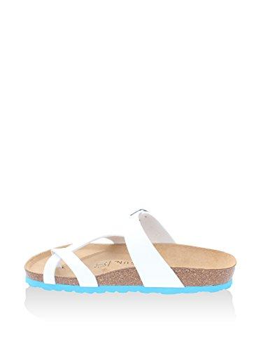 Backsun Tongs/Sandales - Barcelone Femme Blanc Mat Semelle Bleu - Blanc