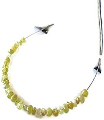 1 Carat Tiny 1mm To 2mm Raw Rough Yellow Diamond Drilled Round Rondelle Beads, Natural Uncut Loose Diamond