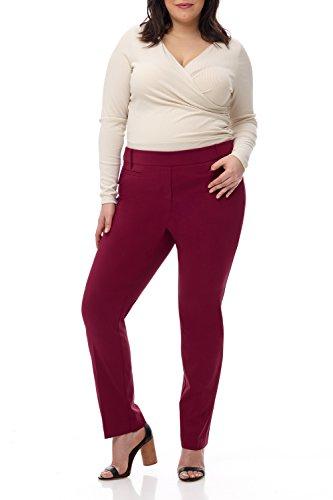 Rekucci Curvy Woman Ease into Comfort Plus Size Straight Pant w/Tummy Control (14WSHORT,Burgundy) (Waist Contour Pant Leg Wide)