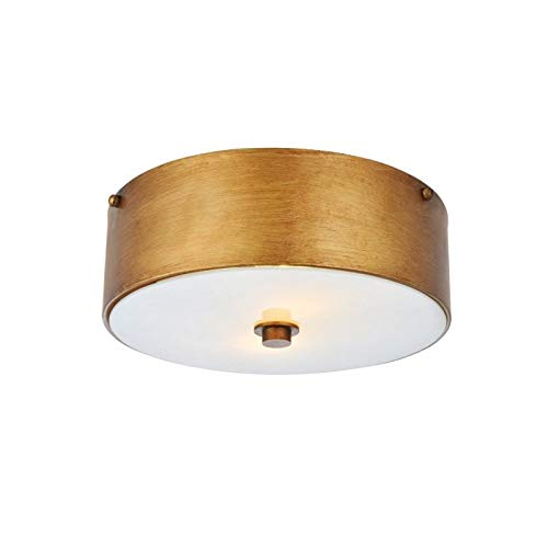 Elegant Lighting Hazen 2 Light 12 inch Vintage Gold Flush Mount