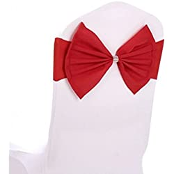 Fvstar Red Chair Sashes Bow Spandex Elastic Chair Cover Bands for Wedding Decorations,Pack of 10