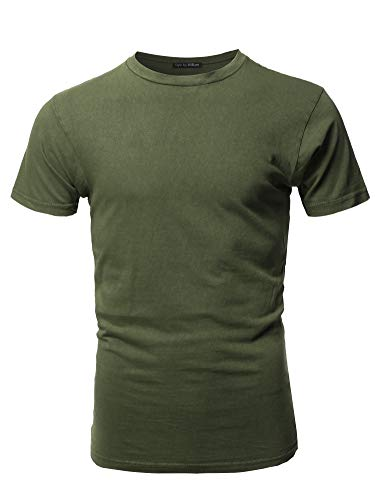 Basic T Shirt Casual Vintage Crewneck Tee Olive XS