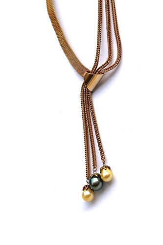 Jewelry Costume 1970's (Tahitian pearl necklace with a vintage gold tone 1970s designer costume jewelry choker and a tassel of natural Tahitian and South Sea pearls NOW 20%)