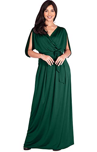 KOH KOH Petite Womens Long Semi-Formal Short Sleeve V-Neck Full Floor Length V-Neck Flowy Cocktail Wedding Guest Party Bridesmaid Maxi Dress Dresses Gown Gowns, Emerald Green S 4-6 ()