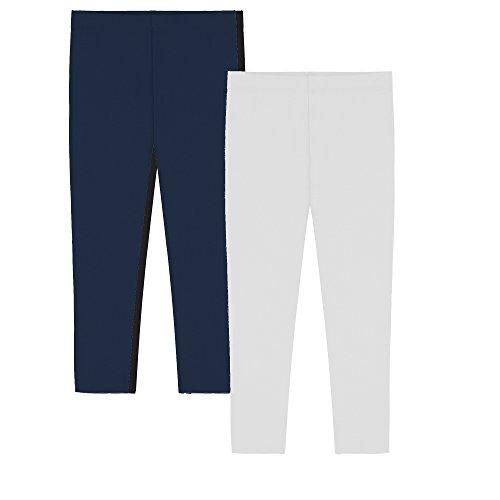 Popular Girl's Cotton Capri Crop Leggings - White and Navy - L (10)