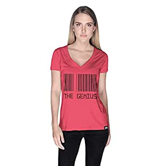 Creo Pink Cotton V Neck T-Shirt For Women