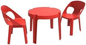 resol Rita set infantil de 2 sillas y 1 mesa para interior, exterior, jardín - color rojo: Amazon.es: Hogar