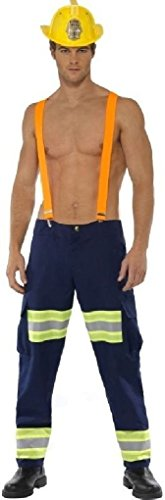 Ponce Mens Firefighter Costume Sexy Pants and Suspenders Dress Up (Mens Sexy Firefighter Costume)