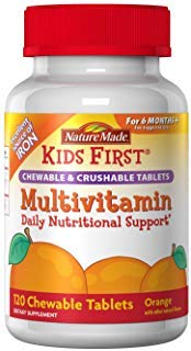 Nature Made Kids First Chewable and Crushable Tablets, Orange, 120 Tablets