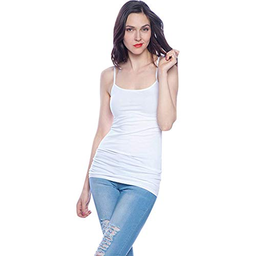 4 PCS Basic Camisole for Women Cami Tanks Adjustable Spaghetti Strap Tank Tops]()